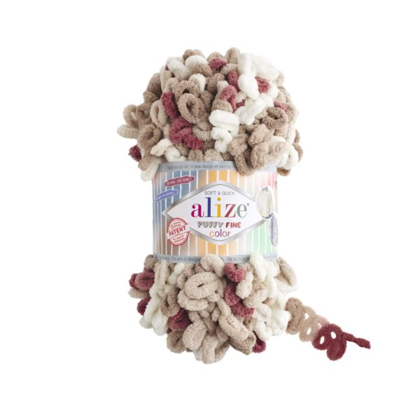 Puffy Fine Color Alize - крем/хаки/красный 6039