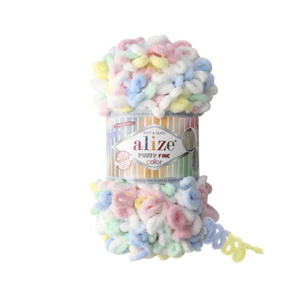 Puffy Fine Color Alize - бел/жел/роз/гол/мята 5949