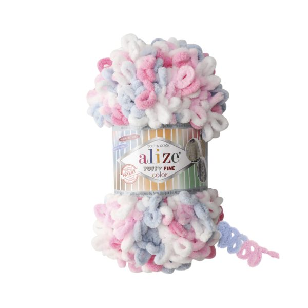 Puffy Fine Color Alize - бел/роз/гол/серый 5945