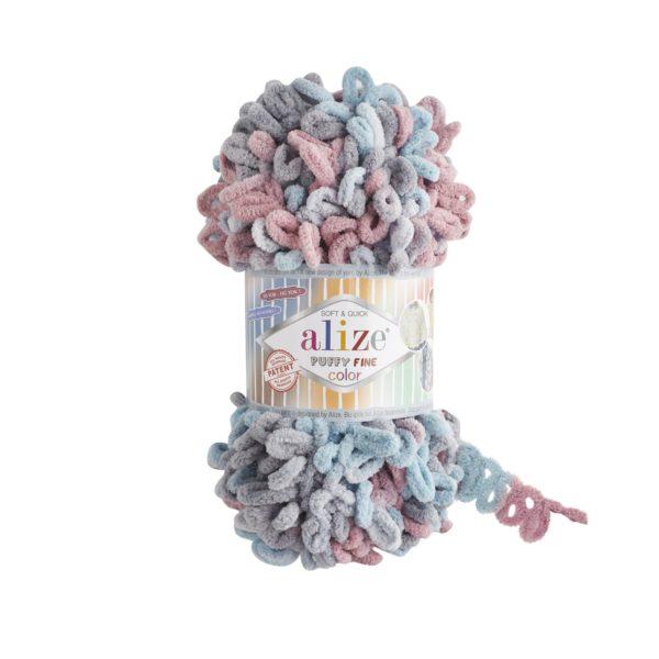 Puffy Fine Color Alize - сер/гол/брусника 6041