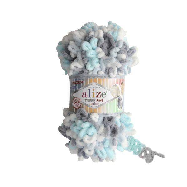 Puffy Fine Color Alize - бел/серый/ментол 5939