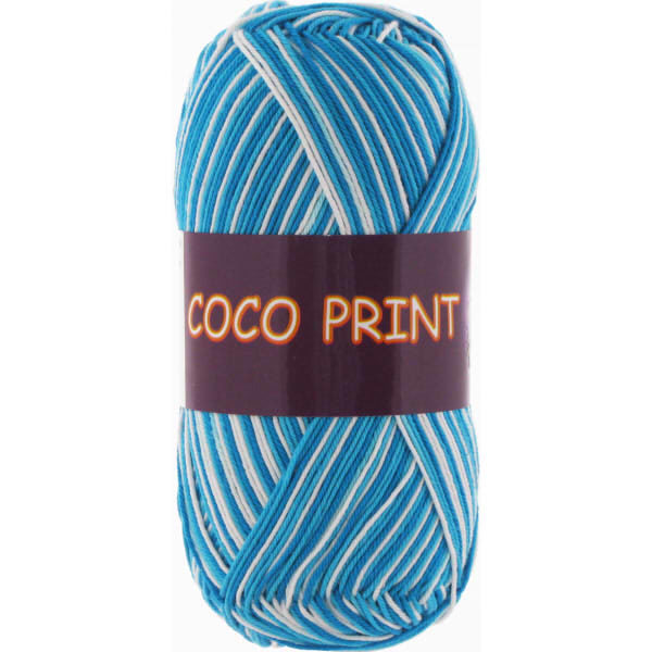 Coco print VITA Cotton - голубая бирюза меланж 4668