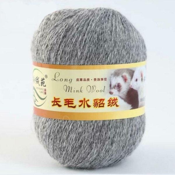 Норка длинноворсная LMY(норка) - серый меланж 48