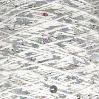 Королевские пайетки Пряжа Китай - белый/серебро AJ019